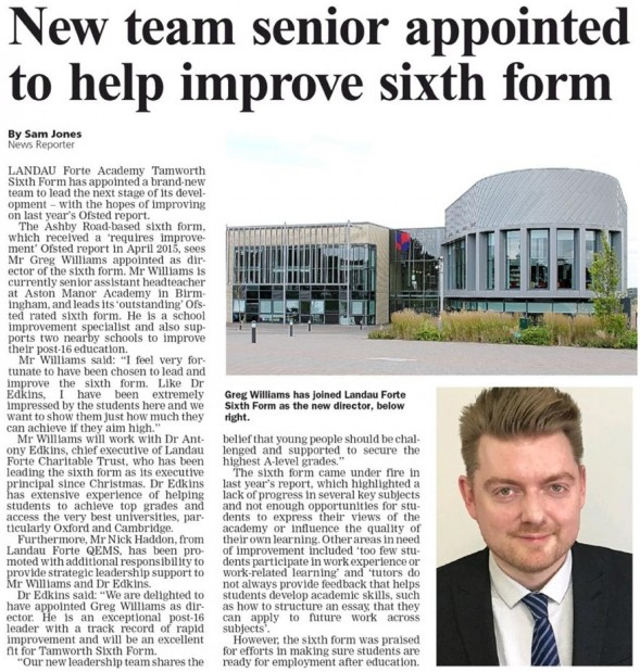 New sixth form leadership featured in the tamworth herald tamworth